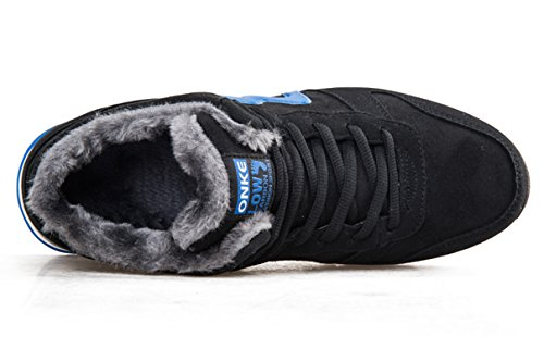 Herren Damen Stiefel Schneestiefel Schnüren Hohe Sneaker Warm gefütterte Schnürstiefel Schuhe Santimon Blau(Herren)