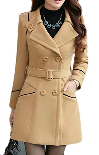 Joe Wenko JWK Women's Double-Breasted Slim Wool-Blend Solid Winter Pea Coats Light Tan (Beige Wool Coat)