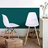 Homy Casa Set of 2 Mid Century Modern Eames Style Counter Stools w/Wooden Legs, Footrests - White