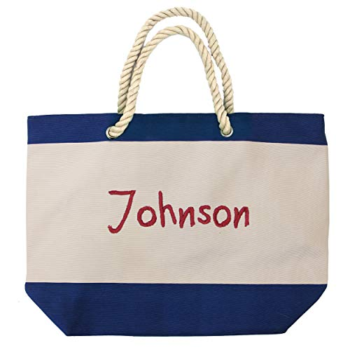 The Wedding Party Store Monogrammed Beach Tote Bag with Zipper, Pockets, Name or Initial - Custom Personalized for Free (Royal Blue)]()