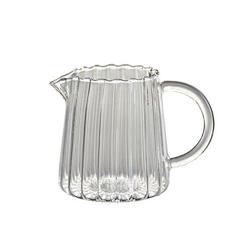 (CHOOLD Elegant Wave Shaped Crystal Glass Creamer Coffee Milk Creamer Pitcher/Serving Pitcher/Sauce Pitcher/Milk Creamer Jug for Kitchen 8.5 oz)