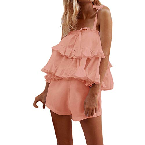Sunyastor Tank Top for Womens Sexy Women Sleeveless Strappy Cotton Linen Top + Shorts Casual Two-Piece Outfit Sets Pink ()