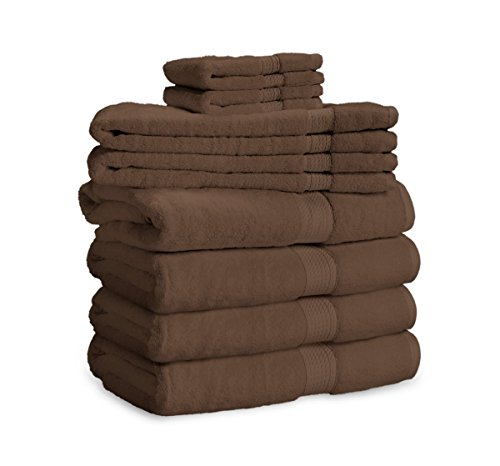 900 GSM 8 Piece Towel Set - Luxurious 100% Long Staple Cotton, Heavy Weight & Absorbent - 4 Large Bath Towels 30x55, 2 Hand Towels 20x30, 2 Face Towels 13x13, Chocolate by eLuxurySupply