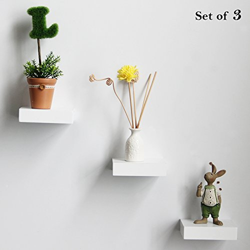 Shelving Solution4-inch Floating Wall Shelves Set of 3, White