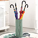 Umbrella Stands Rack Metal Long/Short Umbrella Bucket for Canes Walking Sticks with Drip Tray & 3 Hooks,Round,20X50cm (Color : Dark Green)