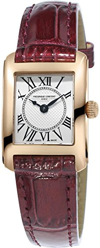 Frederique Constant Women's 'Carree' Swiss Quartz Stainless Steel and Leather Casual Watch, Color:Brown (Model: FC-200MC14)