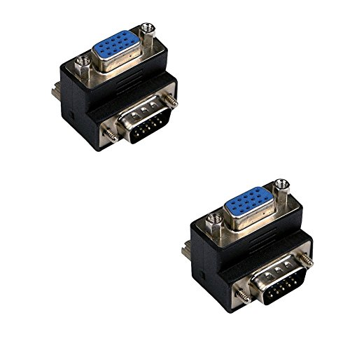 SIENOC 2PK 90 degree Right Angle VGA Male to Female 15 Pin SVGA Converter Adapter Connector for LCD Monitor TV Connector ...