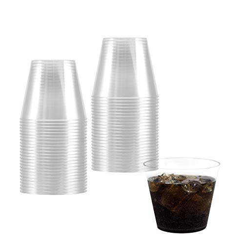200 Clear Hard Plastic Cups | 9 oz. Fancy Disposable Heavy Duty Tumblers (200 Piece Bulk Party Pack) by Bloomingoods