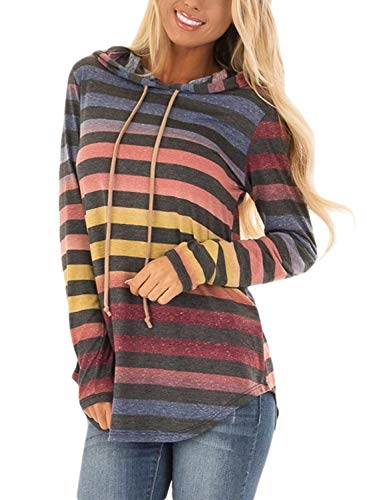 HOTAPEI Womens Pullover Hoodies Sweatshirts Colorful Striped Print Hooded Knit Blouses Long Sleeve T-Shirt 2018 Fashion Cotton Cute Casual Tunic Tops (Print Knit Blouse)