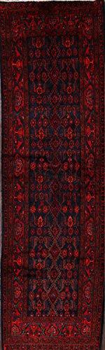 One-of-A-Kind Nahavand Tribal Handmade 4x13 Blue Wool Persian Oriental Runner Rug (12' 8