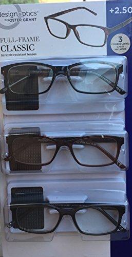 Design Optics Full Frame Classic Reading Glasses +2.50 (3 count, includes - Glasses Optics Design