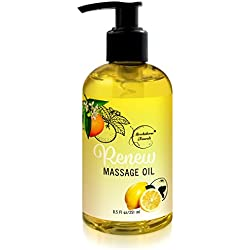 Renew Massage Oil with Orange, Lemon & Peppermint Essential Oils - Great for Massage Therapy or Home use. Ideal for Full Body – with Almond, Grapeseed & Jojoba Oils – By Brookethorne Naturals