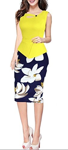 fortric-women-elegant-summer-peplum-wear-to-work-office-party-midi-pencil-dress-yellow-s