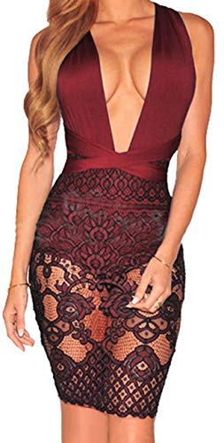 (Women Bodycon Lace Dress Sexy V Neck Halter Strap Sleeveless Backless Bandage Cocktail Evening Mini Pencil Party Suit Burgundy )