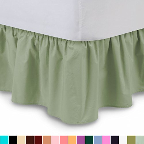 Ruffled Bed Skirt (Full, Sage) 14 Inch Drop Dust Ruffle with Platform, Wrinkle and Fade Resistant - by Harmony Lane (Available in all bed sizes and 16 colors) (Dust Ruffle Full Pink)