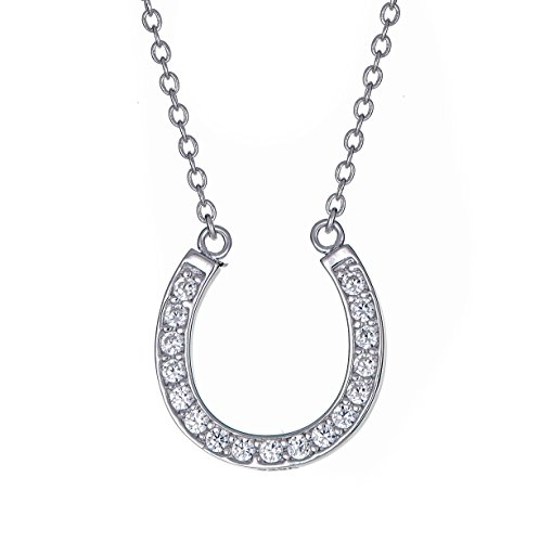 Sterling Silver Pendant Necklace with CZ Pave Horseshoe Charm, Rhodium Plated 925 Silver, Adjustable Chain Length 16' - 18', with Jewelry Box