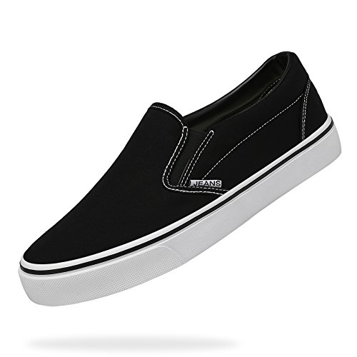 CAMEL CROWN Men's Skate Shoes Classic Low-Top Canvas Sneaker Slip on Loafer Tennis Shoes for Men(Black,8.5 D(M) US ()