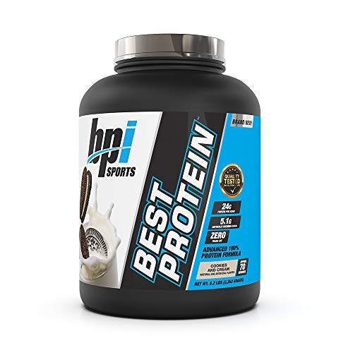 BPI Sports Best Protein - 100% Whey Protein Blend - Muscle Growth, Recovery, Meal Replacement - No Maltodextrin, No Fillers - Gluten Free - for Men & Women - Cookies and Cream - 5.2 Pounds
