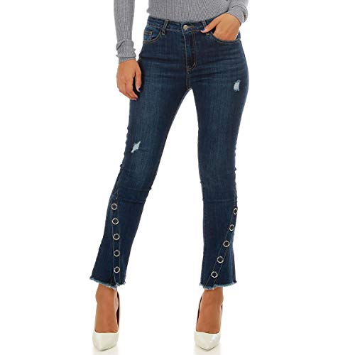 des Jeans au Flare Chevilles Coupe La avec Boutons Bleu Modeuse Pressions Niveau 4q1zZwx7