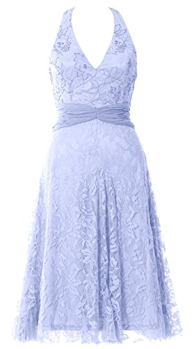 MACloth Women Halter Beaded Lace Short Formal Cocktail Party Dress Evening Gown Cielo azul