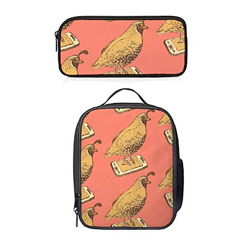 (SARA NELL Lunch Backpack Lunch Box Lunch Tote Animal Fancy Quail in Vintage Style Lunch Bag&Pencil Case Set with Straps for Boys Girls)