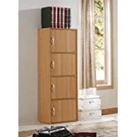 Multipurpose 4-Door Storage Cabinet, Simply Designed, Yet Functional to Suit Any Room or Office, Store Almost Anything Inside, Great for Home and Office, Beech + Expert Guide