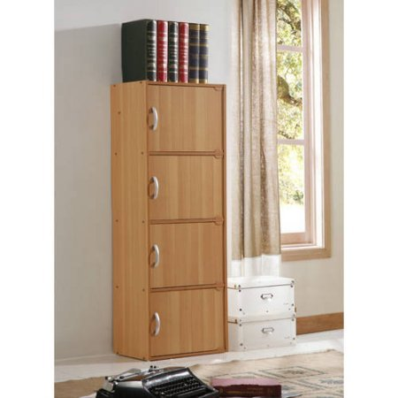 Multipurpose 4-Door Storage Cabinet, Simply Designed, Yet Functional to Suit Any Room or Office, Store Almost Anything Inside, Great for Home and Office, Beech + Expert Guide by eCom Rocket