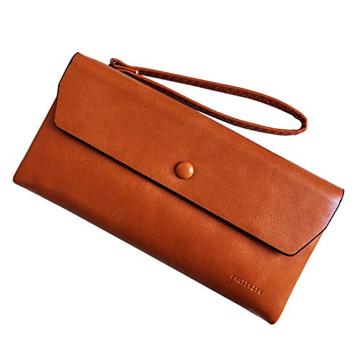 Ladies Clutch Leather Wristlet Card Phone Organizer Zipper Purse (Brown2) ()