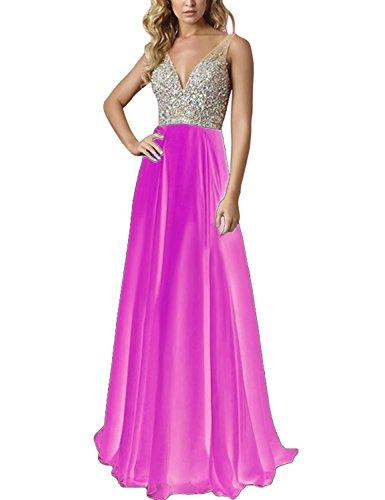 Prom BD213 Hot Pink Beads A Long Dresses Dresses line neck Top Party Evening BessDress V gnU1EE