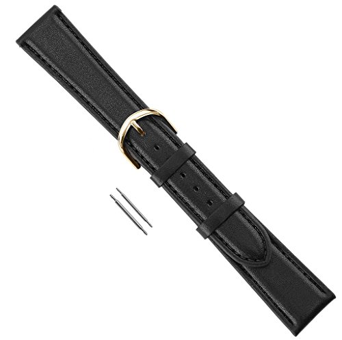 Watch Band Genuine Calfskin Stitched And Padded Leather Replacement Watchband Black Extra Long 18mm ()