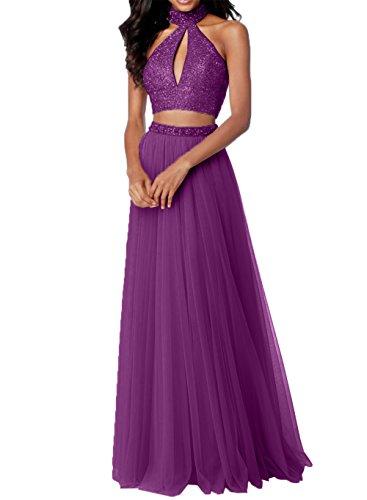 Abschlussballkleider Steine Promkleider Charmant Rosa mit Tuell Violett Teilig Zwei Damen Abendkleider Abiballkleider 1qYvRCx