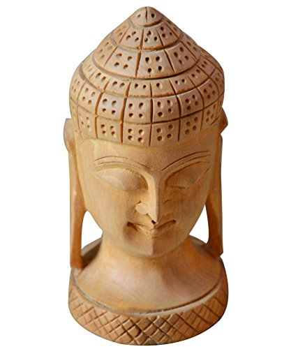 Affaires Wooden Authentic Meditating Buddha Face Sculpture Statue Fine Handicraft Collectible Religious Spirituality and Makes Elegant Christmas or Birthday Gift. W-40074