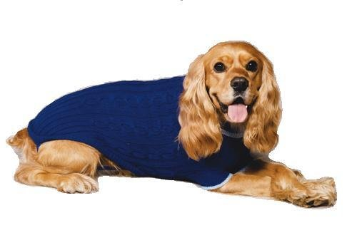 Fashion Pet Classic Cable Dog Sweater, Cobalt Blue, Medium