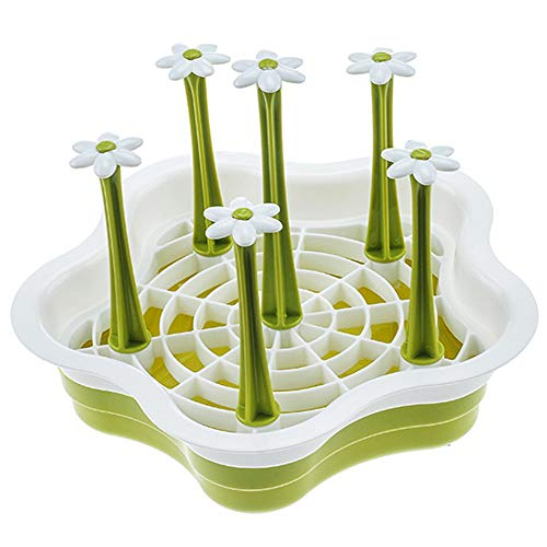 Hot Sale!DEESEE(TM)Flower Detachable Drain Cup Mug Storage Gadget Sink Holder Rack Kitchen Tool (Green) (Contemporary Designs Pillar)