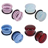 7 16 glass plugs - 4 Pairs Ear Gauges Plugs Flesh Tunnels Single Flared Stretchers Expander Piercing Jewelry Ear Plugs Kit (7mm)