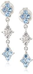 Sterling Silver Blue Topaz and Created White Sapphire Accent Dangle Drop Earrings