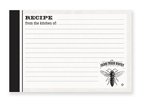 Brownlow Gifts 4'' x 6'' Lined Recipe Cards, Farm Fresh Honey, 36-Count
