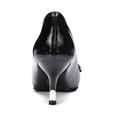 Heel Elegant Pointu Noir Strass A Enfiler Kitten Femmes TAOFFEN Escarpins C0qExwF05