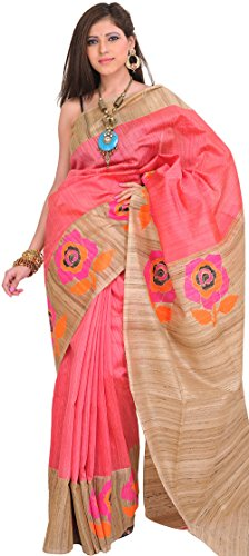 Exotic India Sunkist-Coral and Beige Sari from Banaras with Hand-woven Ro - Pink (Pink Indian Sari Adult Costume)
