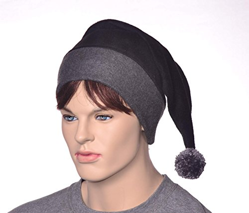 Black Gray Fleece Stocking Cap with Large Pompom