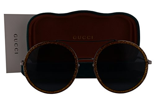 Gucci GG0061S Sunglasses Brown Gray w/Blue Lens 004 GG - Sunglasses Gucci Gg0061s
