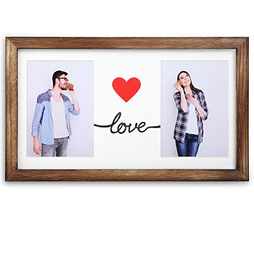 Emfogo 16x9 Picture Frames Display Two 5x7 Photo with Mat Made of Solid Wood & High Definition Glass Wood Picture Frame ()