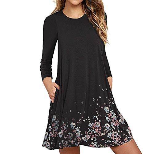 iNoDoZ Women's Summer Long Sleeve Print Evening Party Beach Short Dress Black