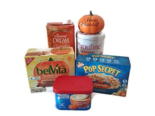 Giving Thanks For Pumpkin Spice Gift Bundle – Pumpkin Spice Pirouline Creme Filled Wafers, Belvita Biscuits, Pop-Secret Popcorn, Maxwell House Latte, Almond Dream Drink & Decor Pumpkin – (6 Items)