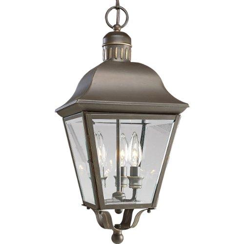 Progress Lighting P5587-20 3-Light Andover Hanging Lantern, Antique Bronze - Oxford Bronze Candle