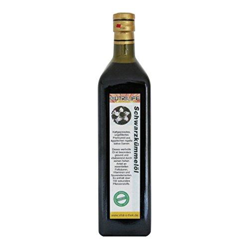 Schwarzkümmelöl 100% naturrein und naturbelassen !! UNGEFILTERT !! 1000ml in Glasflasche *** mühlenfrisch direkt vom Hersteller Kräuterland Natur-Ölmühle ***