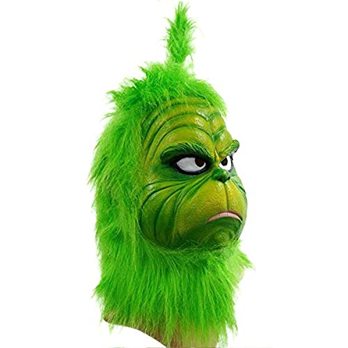 Grinch Mask Costume Face Adult - Deluxe Full Head Latex Mr Grinch Mask Kids Cosplay (GR-1)