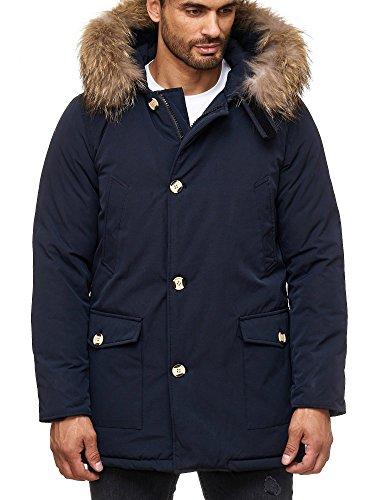 HUSARIA warm gefütterte Herren Parka mit Kapuze und echtem Fell  Wintermantel Funktionsjacke Outdoorjacke Jacke Wintermantel Kapuzenjacke  Mantel AK923: ...