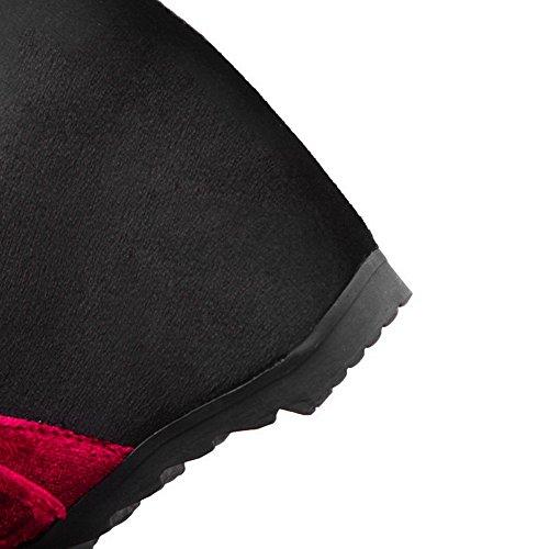 Chaussures AgooLar Femme Tire Coin Talon Légeres à Noir Rond Correct wH7wpq