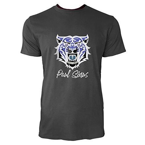 SINUS ART® Kultiger Tigerkopf als Maskottchen Herren T-Shirts in Smoke Fun Shirt mit tollen Aufdruck